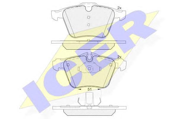 Комплект тормозных колодок, дисковый тормоз Icer 181902