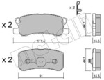 Комплект тормозных колодок, дисковый тормоз Metelli 2204000