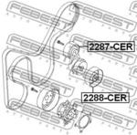 Натяжной ролик, поликлиновой  ремень Febest 2287CER